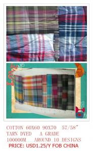 China cotton yarn dyed shirting fabric on sale