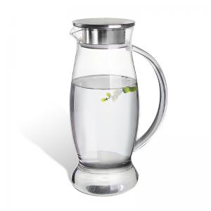 China 50 Oz Iced Tea Glass Water Pitcher With Stainless Steel Lid / Spout Easy To Use on sale