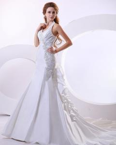 China Sexy Deep V Halter Neck Wedding Dresses ruffled long tail Wedding Gowns on sale