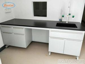 China Corrosion Resistant Modular Steel Wood Lab Well Bench Furniture on sale