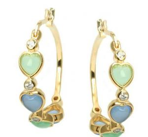 China Green Lavender Heart Gold Plated Sterling Silver CZ Hoop Earrings,925 silver jewelry,fine jewelry on sale