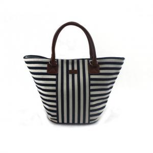 China Eco-friendly Leather Canvas Beach Bag with Silk Printing / Heat Transfer on sale