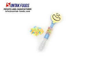 China Toy Candy Smile Face Colorful Compress Candy Plastic Tube , Toy Candy on sale