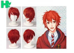China Charming Wigs Synthetic Hair Short Wavy Red Synthetic Cosplay Wigs Costume Party Wigs Cap on sale