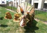 Artificial Triceratops Models Outdoor Dinosaur Statues For Real Estate Decoration