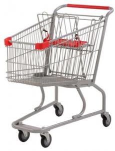 China Silver Grocery Shopping Trolley / Metal Supermarket Shopping Cart 100Kgs on sale