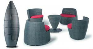 China gray bullet-shaped high top patio outdoor furniture set FS-002 on sale