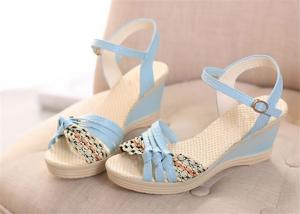 China Colorful PU Straps Upper Women'S Wedge Sandals , Beautiful Ankle Strap Wedge Sandals on sale