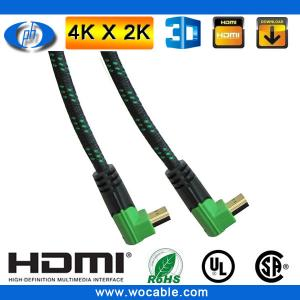 China right angle hdmi to hdmi cable with Green/Black color connectors on sale
