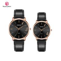 Leather Band Quartz Movement Couple Hand Watch For Lover 3 Bar Water Resistant
