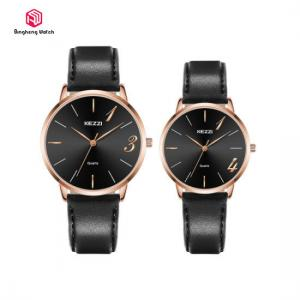 China Leather Band Quartz Movement Couple Hand Watch For Lover 3 Bar Water Resistant on sale
