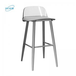 China Cheap low legs metal bar stool with back on sale