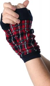 China Red / Green + Black Knitted Arm Warmer , Women's Free Fingerless Gloves Knitting Patterns For Arm Warmers on sale