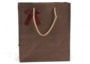 China Paper Carrier Bags Brown Kraft SOS Takeaway Food Lunch Party With Handles on sale