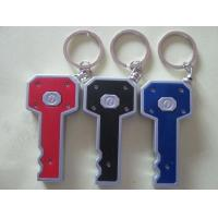 China Custom Plastic Key Shape Led Flashlight Keychain / Led Torch Keychain 8*3.5CM For School Students Gift on sale
