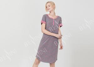 China Polyester Cotton Jersey Ladies Night Dresses Sleepwear Short Sleeve Yarn Dyed Striped on sale