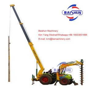 China Plant Auger Drill Electric Pole Erection Machine For Concrete And Wooden Pole on sale
