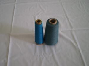 China Blue 100% Polyester Dope Dyed Yarn , Ring Spun 16s - 50s on sale