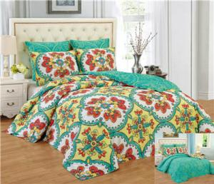 China Reversible 6pcs Comforter Set Printed Floral Bedding Set Premier Quality 1200 Egyption Cotton Touch on sale