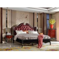 China European style Classic design furniture of Leather headboard Bed used Beech wood in Glossy painting for Villa house on sale