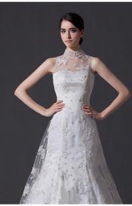 Quality Unique Pearl illusion neckline Halter Neck Wedding Dresses with Lace back for sale