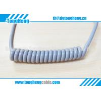 China Glossy Gray Colour Long Flex Life TPU Coated Customized Coil Cable on sale