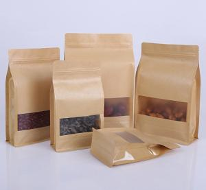 China Eco Friendly Biodegradable Eight Side Seal Food Packaging Kraft Paper Flat Square Bottom Bag For Dry Fruit on sale