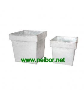 China galvanized tapered square flower pots metal planters on sale