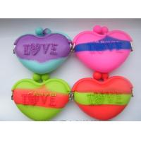 AAA Quality ! Cheapest Mixed Color Silicone Coin Purse Heart silicone Pouch bags