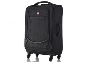 China Durable 18 inch travel luggage black color , lightweight cabin luggage with wheels on sale