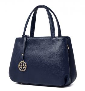 China Genuine Leather Navy Blue Leather Tote Handbags on sale