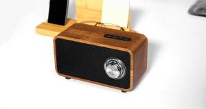 China TF Card Supported Wooden Bluetooth Speaker , Line - In Function Wooden Stereo Speakers on sale