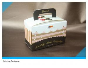 China Beautiful And Attractive Cake Packaging Paper Box Packaging With Take Away Handle on sale