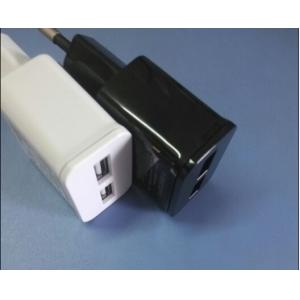 China USB Universal Travel Power Adapters 5V2.1A Two USB White And Black on sale