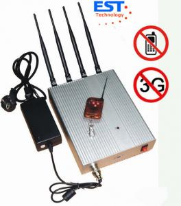 Quality 3G Mobile Phone Remote Control Jammer / Blocker EST-505B With 4 Antenna for sale
