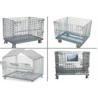 Collapsible Metal Pallet Cage , Steel Wire Pallet Storage Cage U Type Hand