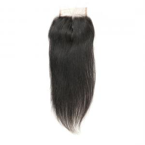 China Smooth Long Human Hair Lace Closure / Silk Base Closure Weave Double Weft on sale