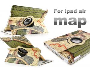 China Cool Retro Smart Map Book Stand Leather Ipad Protective Case For iPad Air on sale