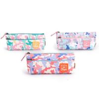 Custom Fabric Student Pencil Pouches 2 Pockets Zipper Closure Large Capacity