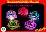Brinquedos de piscamento da flor plástica da mantilha do diodo emissor de luz da forma de Rosa para a decoração FA12106 do cabelo do partido