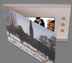 China Leather Hard Cover LCD Video Brochure With Video Screen / SD Card on sale