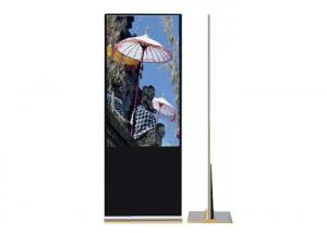 China Golden Color Indoor Digital Signage Totem , Free Standing Lcd Video Player 43 on sale