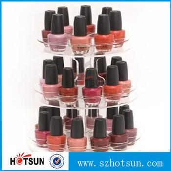 3 Tiered Round Rotating Acrylic Nail Polish Display Stand In