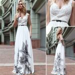 As correias elegantes do decote em V do comprimento do assoalho imprimiram o vestido de noite maduro/vestido -30559 das damas de honra