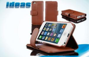 China Brown Magnetic Covers Apple iPhone Leather Cases Wallet for iPhone 5 on sale