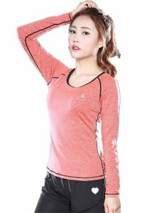 China CPG Global Women Red Blue Orange Polyester Spring  Long Sleeves Gym Running Sports T-Shirts Outdoor Apparel S-L S56 on sale