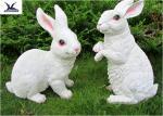 Realistic Rabbit Model Life Size Fiberglass Statues For Amusement Park Decoration
