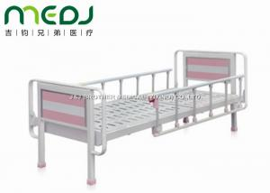 China Pink Flat Hospital Manual Bed 2130X970X540mm MJSD06-01 With Foldable Side Rail on sale