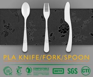 China biodegradable and compostable PLA cutlery set, food cutlery set, biodegradable cutlery knife fork spoon on sale