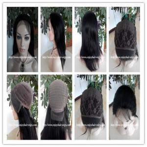 China 100% Human hair lace front wig indian remy silk straight hair,120%-180% density,1b#color. on sale